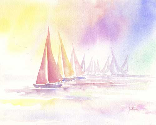 Regatta Colors - Watercolor - Bob Pittman Art